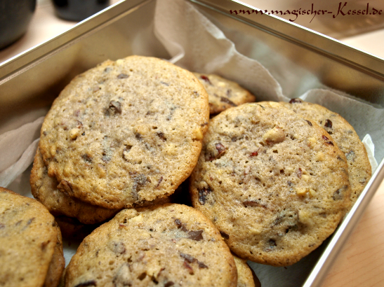 Rezept für Dinkelcoookies mit Walnüssen und Cranberrys