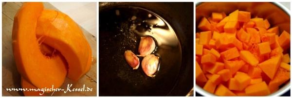 Kürbispürree mit geröstetem Knoblauch