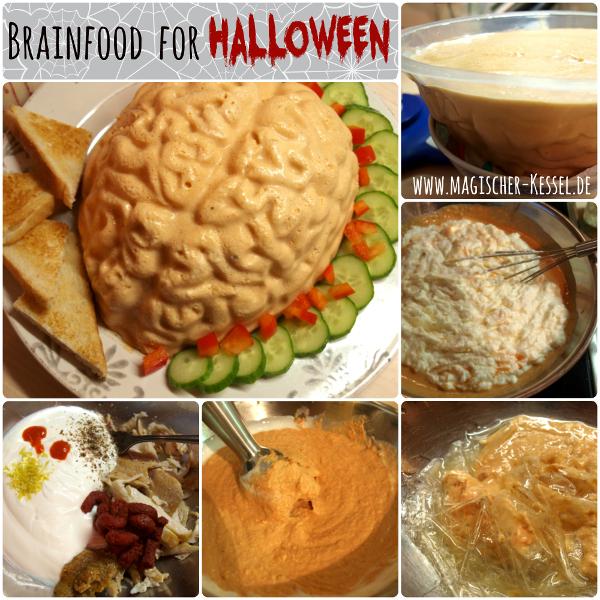 Essbares Gehirn für das Gruselnbuffet zu Halloween