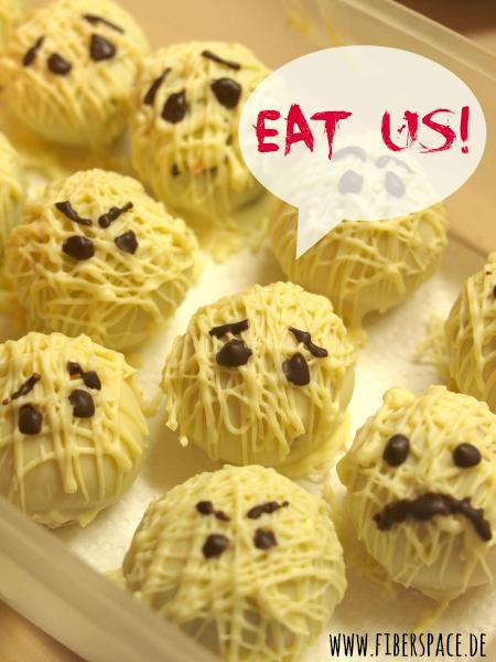 Süßes Fingerfood für Halloween: Mumien Cake Balls