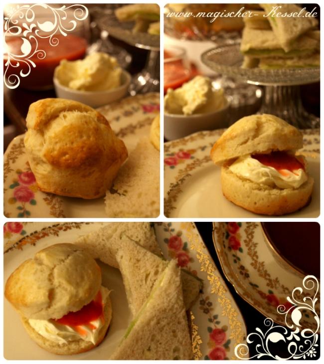 Klassische britische Teatime mit Scones, clotted Cream und Tee.