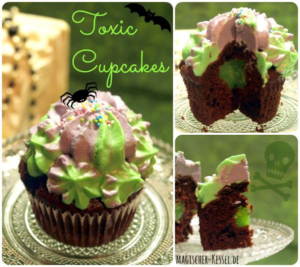 halloween toxic cupcakes gef llte schokoladencupcakes mit cream cheese icing halloween. Black Bedroom Furniture Sets. Home Design Ideas