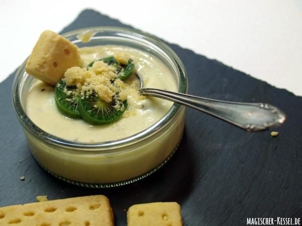 Rezept für englischen Zitronenpudding / Lemon Posset mit Mini-Kiwis