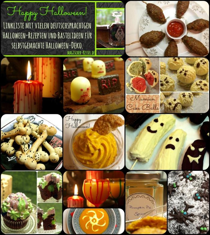 Linkliste mit vielen deutschsprachigen Halloween-Rezepten und Bastelideen für Halloween-Deko #halloween #halloweenfood #diy