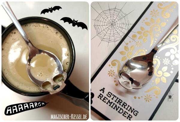 Totenkopflöffel - Kaffeelöffel mit Totenkopf & Tasse mit Fledermausflügeln