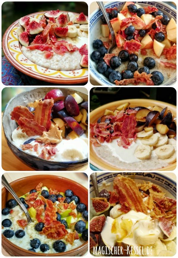 Frühstücksideen: Haferbrei mit knusprigem Bacon