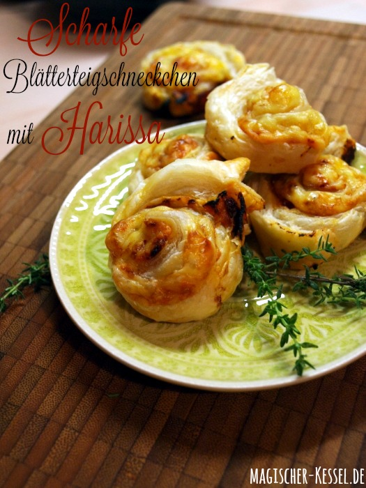 Rezept für Blätterteigschnecken mit Harissa