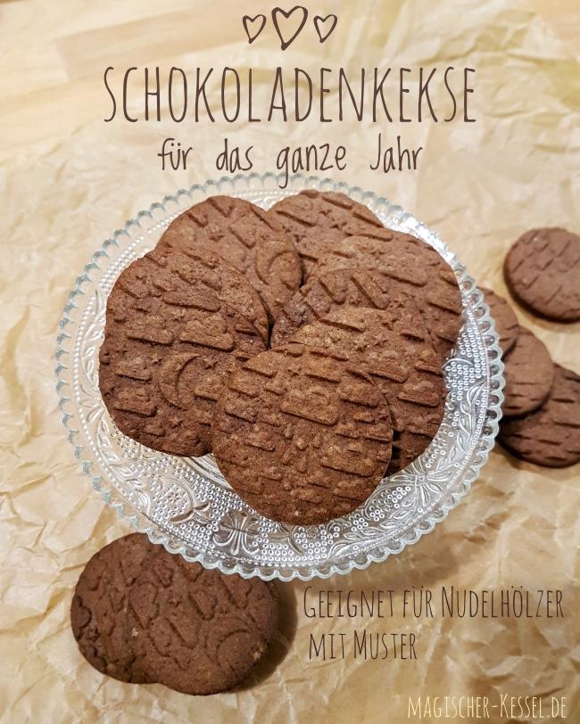 Rezept für einfache Schokoladenkekse - geeignet für Nudelhölzer mit Muster