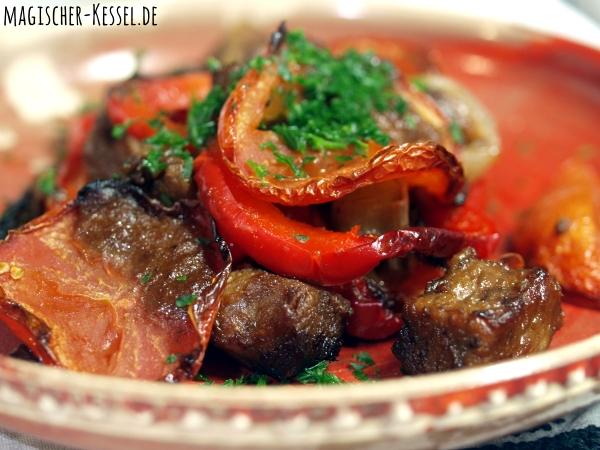Tepsi - ein arabisches Rezept für Ofengemüse mit Lammfleisch>