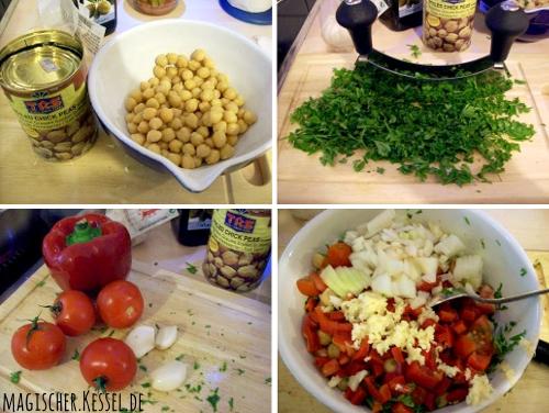 Zubereitung von arabischem Kichererbsensalat