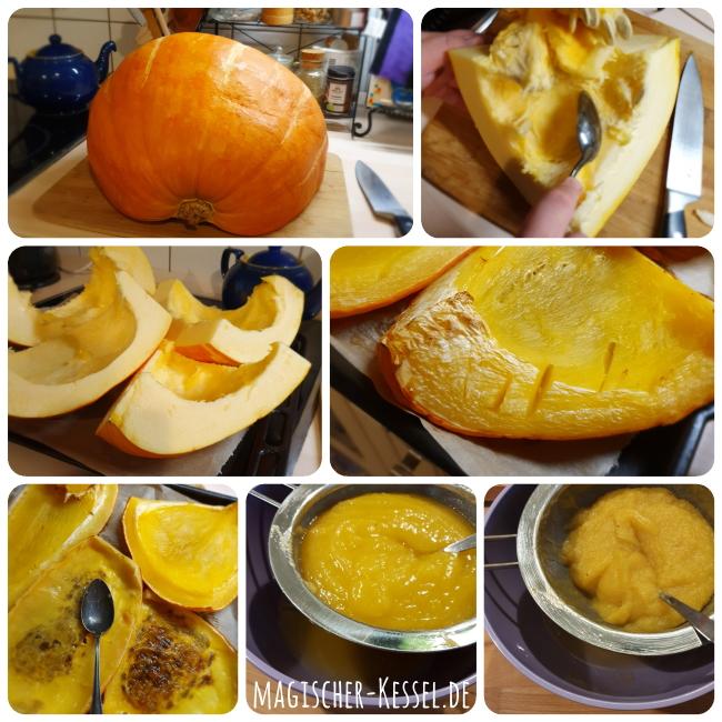 Rezept für Kürbispüree aus dem Ofen (homemade pumpkin puree)