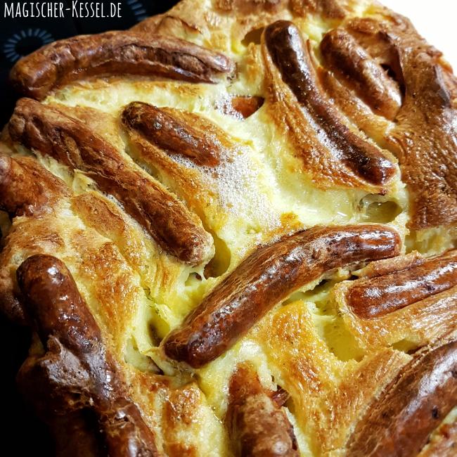 Familienessen: Auflauf mit Bratwürstchen / Rezept für Toad in the hole