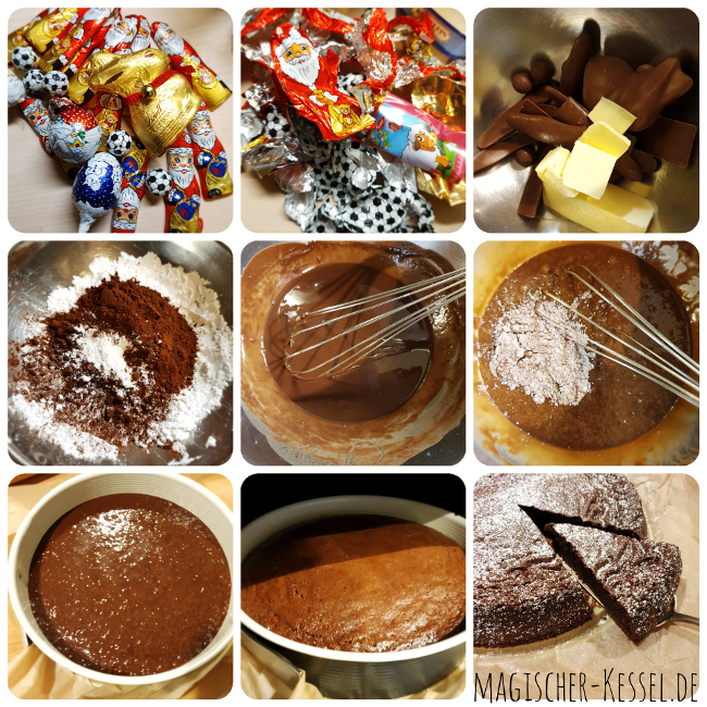 Rezept für glutenfreien Schokokuchen aus Schokoladenweihnachtsmännern und Schokoladenosterhasen
