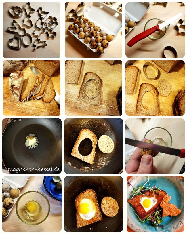 Wie macht man Ei im gebratenen (Toast-)Brot? Hier mit Wachteleiern