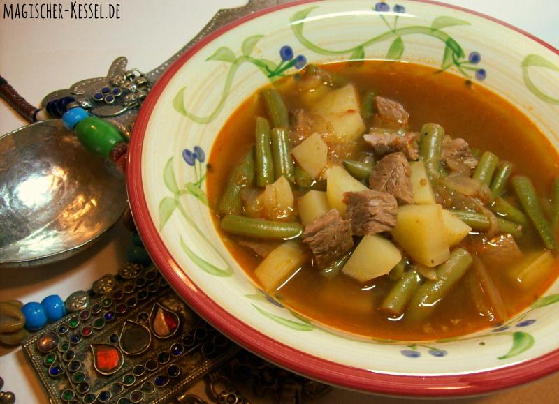 Arabischer Eintopf mit Lamm, Kartoffeln und grünen Bohnen