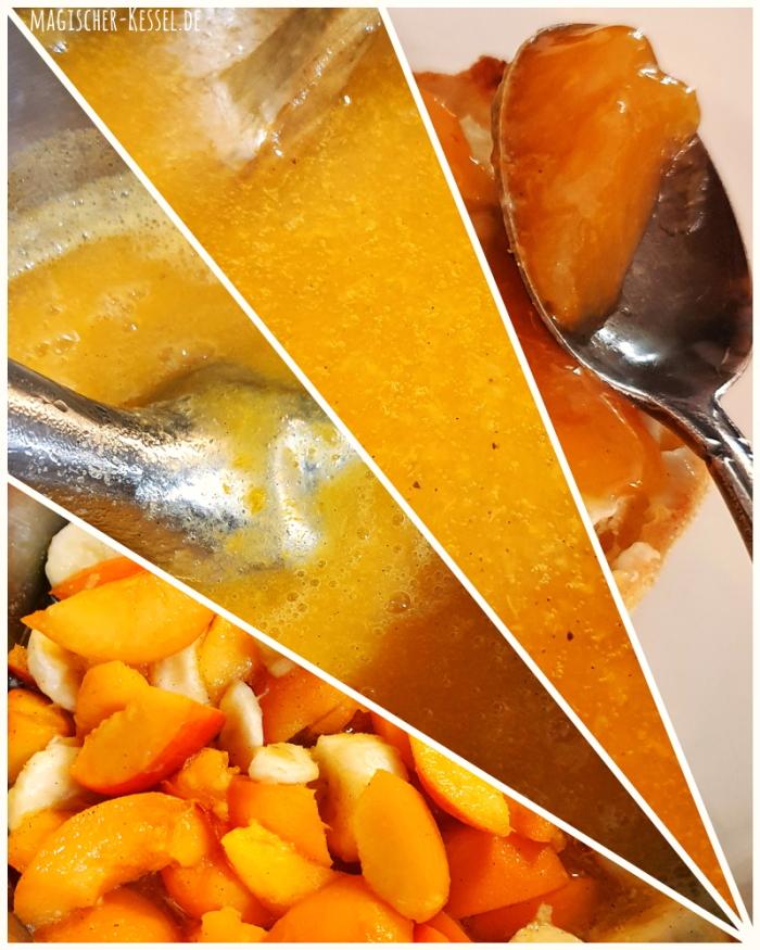 Eine Bildcollage aus 4 Bildern. Die Bilder sind dreieckig und - ausgehend von der rechten unteren Ecke - strahlenförmig angeordnet. Links unten sind geschnittene Früchte in einem Topf zu sehen (Aprikosen und Bananen), darüber ein metallener Pürierstab in einer cremigen orangen Substanz, darüber die kochende Aprikosenmarmelade und ganz recht ist ein Silberlöffel zu sehen, der zur Hälfte von der fertigen, erkalteten Konfitüre bedeckt ist.